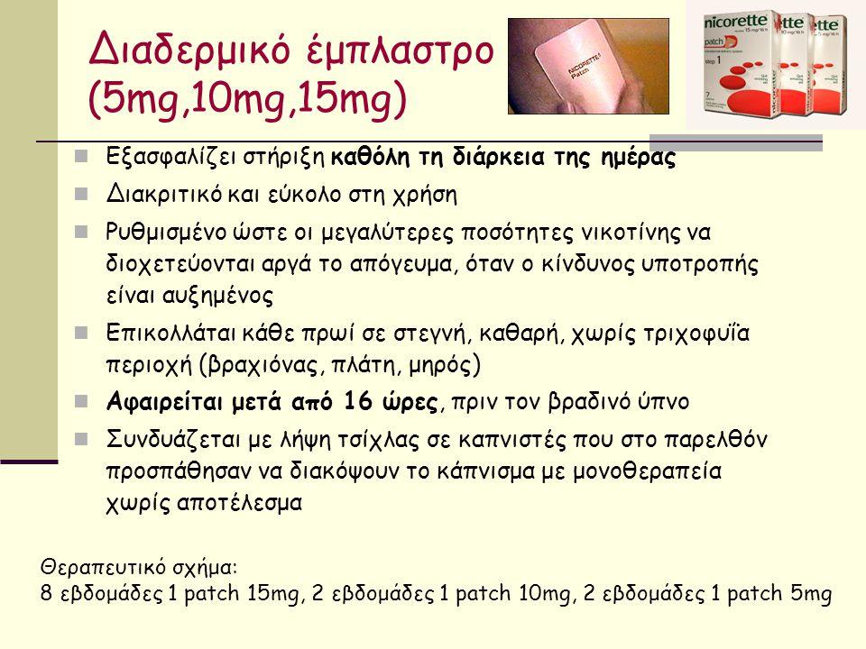 Διαδερμικό έμπλαστρο (5mg,10mg,15mg) Εξασφαλίζει στήριξη καθόλη τη διάρκεια της ημέρας Διακριτικό και εύκολο στη χρήση Ρυθμισμένο ώστε οι μεγαλύτερες ποσότητες νικοτίνης να διοχετεύονται αργά το απόγευμα, όταν ο κίνδυνος υποτροπής είναι αυξημένος Επικολλάται κάθε πρωί σε στεγνή, καθαρή, χωρίς τριχοφυΐα περιοχή (βραχιόνας, πλάτη, μηρός) Αφαιρείται μετά από 16 ώρες, πριν τον βραδινό ύπνο Συνδυάζεται με λήψη τσίχλας σε καπνιστές που στο παρελθόν προσπάθησαν να διακόψουν το κάπνισμα με μονοθεραπεία χωρίς αποτέλεσμα Θεραπευτικό σχήμα: 8 εβδομάδες 1 patch 15mg, 2 εβδομάδες 1 patch 10mg, 2 εβδομάδες 1 patch 5mg