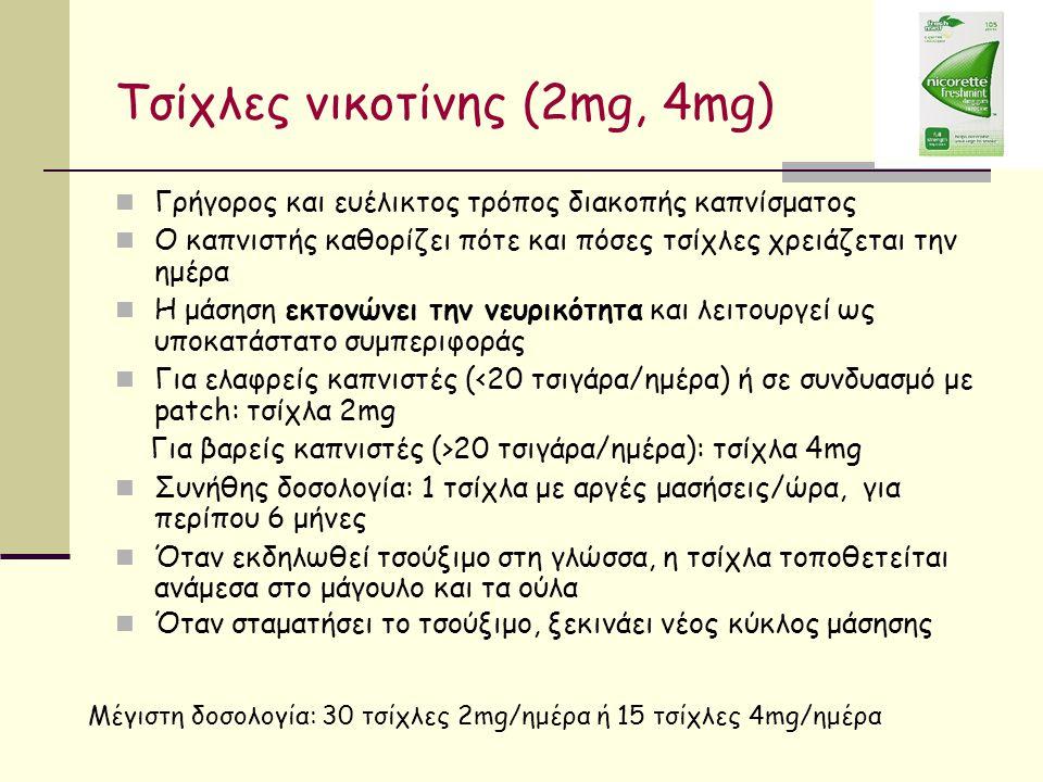 Τσίχλες νικοτίνης (2mg, 4mg) Γρήγορος και ευέλικτος τρόπος διακοπής καπνίσματος Ο καπνιστής καθορίζει πότε και πόσες τσίχλες χρειάζεται την ημέρα Η μάσηση εκτονώνει την νευρικότητα και λειτουργεί ως υποκατάστατο συμπεριφοράς Για ελαφρείς καπνιστές (<20 τσιγάρα/ημέρα) ή σε συνδυασμό με patch: τσίχλα 2mg Για βαρείς καπνιστές (>20 τσιγάρα/ημέρα): τσίχλα 4mg Συνήθης δοσολογία: 1 τσίχλα με αργές μασήσεις/ώρα, για περίπου 6 μήνες Όταν εκδηλωθεί τσούξιμο στη γλώσσα, η τσίχλα τοποθετείται ανάμεσα στο μάγουλο και τα ούλα Όταν σταματήσει το τσούξιμο, ξεκινάει νέος κύκλος μάσησης Μέγιστη δοσολογία: 30 τσίχλες 2mg/ημέρα ή 15 τσίχλες 4mg/ημέρα