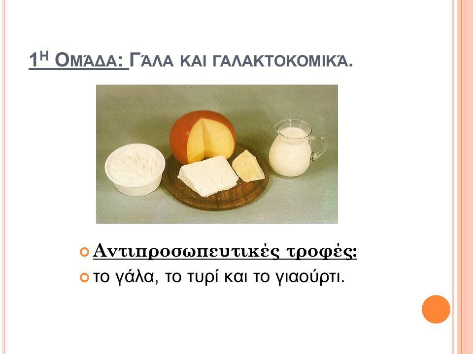 1 Η Ο ΜΆΔΑ : Γ ΆΛΑ ΚΑΙ ΓΑΛΑΚΤΟΚΟΜΙΚΆ. Αντιπροσωπευτικές τροφές: το γάλα, το τυρί και το γιαούρτι.