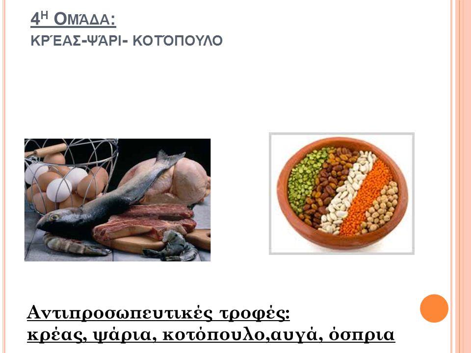 4 Η Ο ΜΆΔΑ : ΚΡΈΑΣ - ΨΆΡΙ - ΚΟΤΌΠΟΥΛΟ Αντιπροσωπευτικές τροφές: κρέας, ψάρια, κοτόπουλο,αυγά, όσπρια