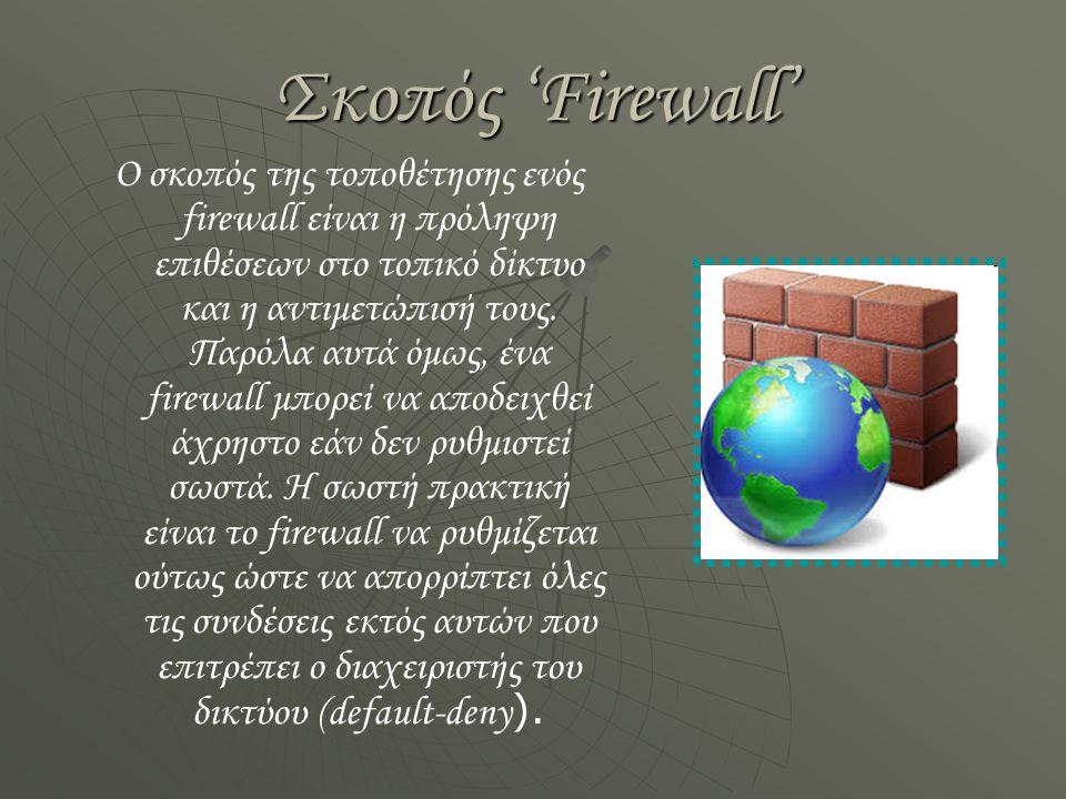 Ρύθμιση 'Firewall' Για να ρυθμιστεί σωστά ένα firewall θα πρέπει ο διαχειριστής του δικτύου να έχει μία ολοκληρωμένη εικόνα για τις ανάγκες του δικτύου και επίσης να διαθέτει πολύ καλές γνώσεις πάνω στα δίκτυα υπολογιστών.
