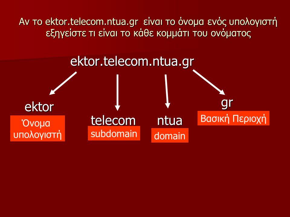 Αν το ektor.telecom.ntua.gr είναι το όνομα ενός υπολογιστή εξηγείστε τι είναι το κάθε κομμάτι του ονόματος ektor.telecom.ntua.gr gr ntuatelecom ektor