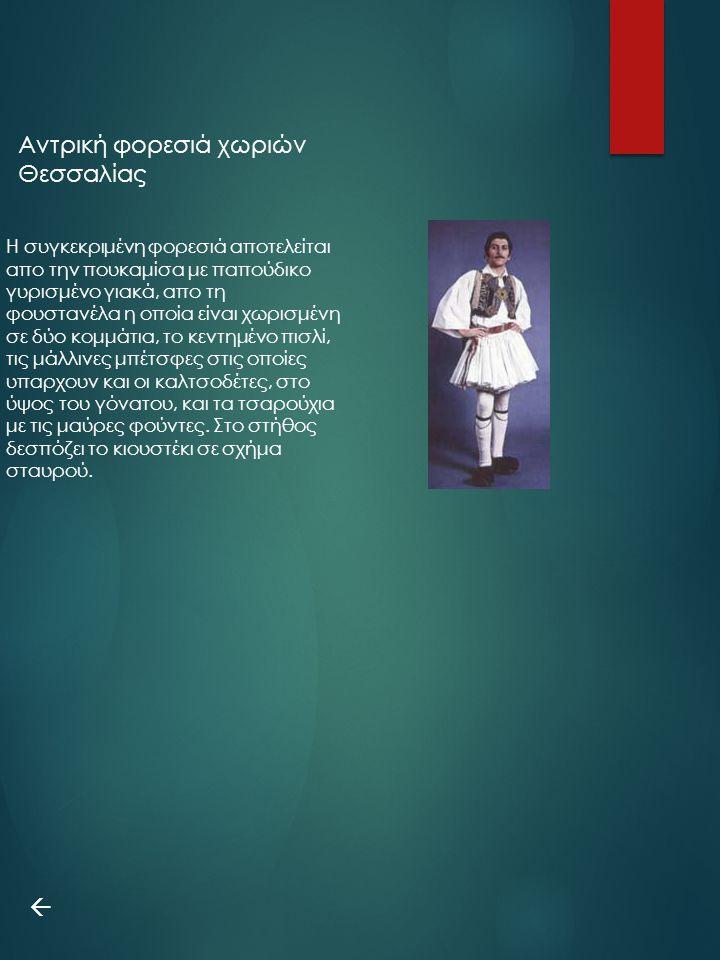 Η συγκεκριμένη φορεσιά αποτελείται απο την πουκαμίσα με παπούδικο γυρισμένο γιακά, απο τη φουστανέλα η οποία είναι χωρισμένη σε δύο κομμάτια, το κεντη