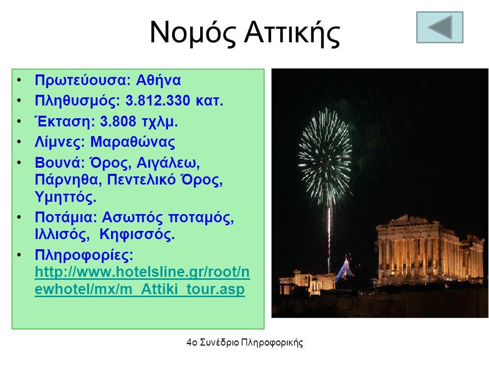 Νομός Αττικής Πρωτεύουσα: Αθήνα Πληθυσμός: 3.812.330 κατ. Έκταση: 3.808 τχλμ. Λίμνες: Μαραθώνας Βουνά: Όρος, Αιγάλεω, Πάρνηθα, Πεντελικό Όρος, Υμηττός