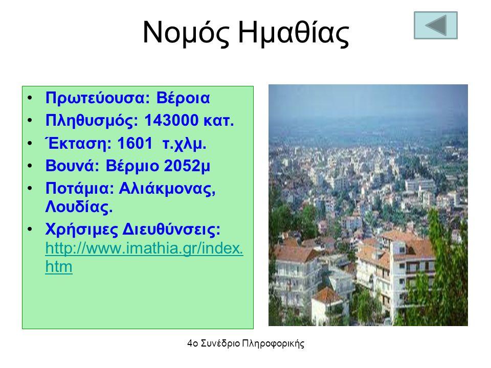 Νομός Ημαθίας Πρωτεύουσα: Βέροια Πληθυσμός: 143000 κατ. Έκταση: 1601 τ.χλμ. Βουνά: Βέρμιο 2052μ Ποτάμια: Αλιάκμονας, Λουδίας. Χρήσιμες Διευθύνσεις: ht
