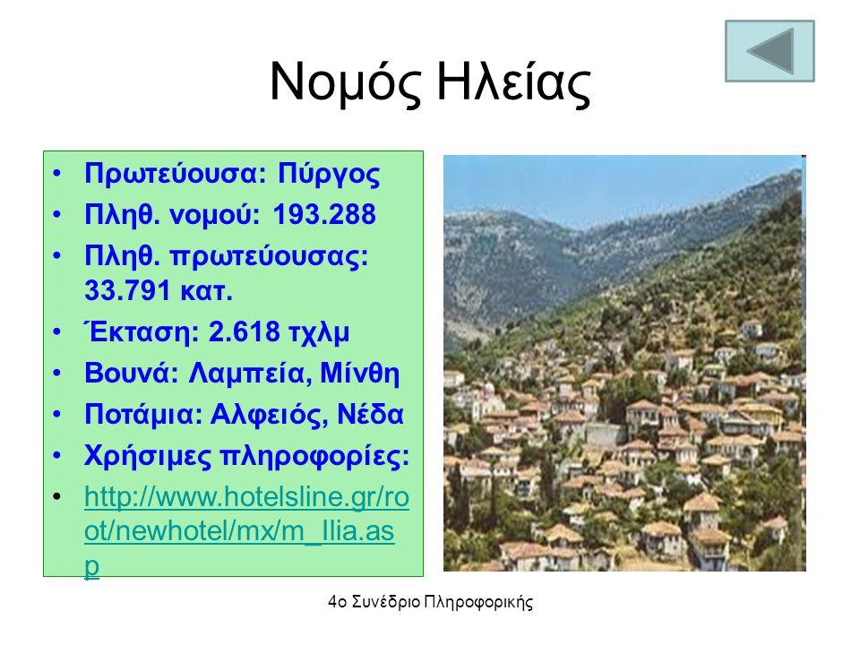 Νομός Ηλείας Πρωτεύουσα: Πύργος Πληθ. νομού: 193.288 Πληθ. πρωτεύουσας: 33.791 κατ. Έκταση: 2.618 τχλμ Βουνά: Λαμπεία, Μίνθη Ποτάμια: Αλφειός, Νέδα Χρ