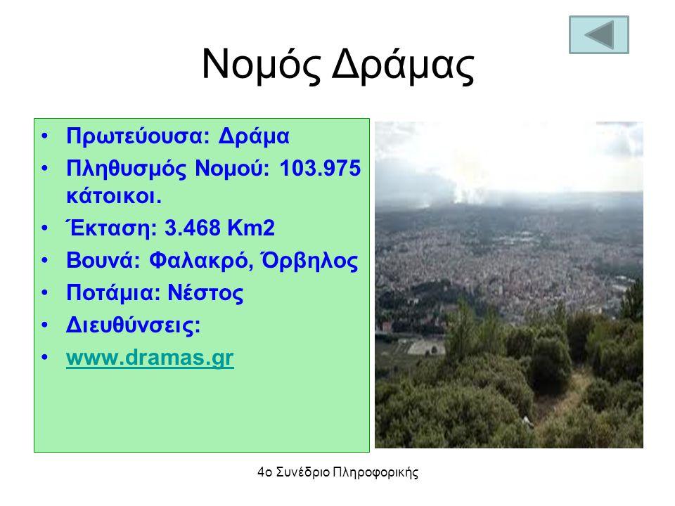 Nομός Δράμας Πρωτεύουσα: Δράμα Πληθυσμός Νομού: 103.975 κάτοικοι. Έκταση: 3.468 Km2 Βουνά: Φαλακρό, Όρβηλος Ποτάμια: Νέστος Διευθύνσεις: www.dramas.gr