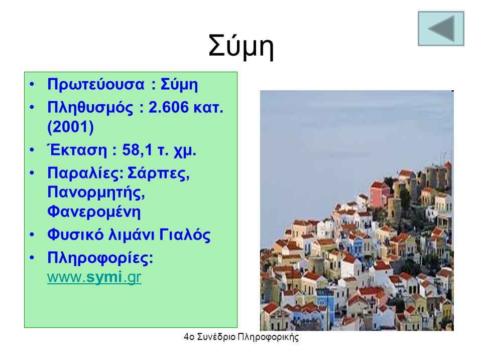 Σύμη Πρωτεύουσα : Σύμη Πληθυσμός : 2.606 κατ. (2001) Έκταση : 58,1 τ. χμ. Παραλίες: Σάρπες, Πανορμητής, Φανερομένη Φυσικό λιμάνι Γιαλός Πληροφορίες: w
