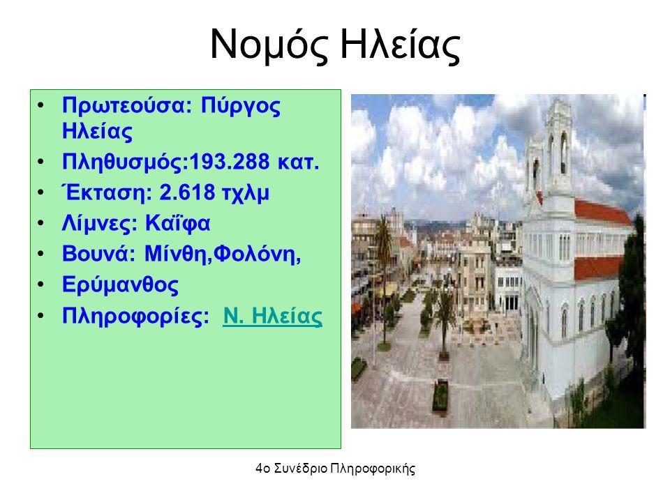 Nομός Ηλείας Πρωτεούσα: Πύργος Ηλείας Πληθυσμός:193.288 κατ. Έκταση: 2.618 τχλμ Λίμνες: Καΐφα Βουνά: Μίνθη,Φολόνη, Ερύμανθος Πληροφορίες: Ν. ΗλείαςΝ.