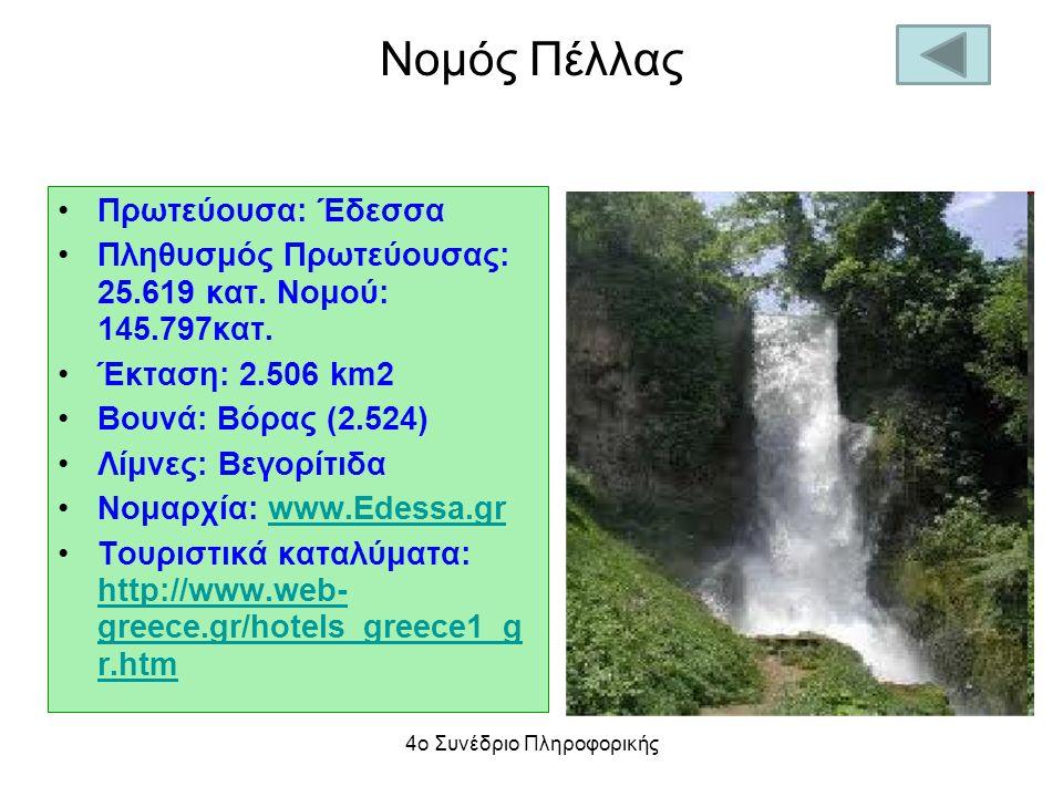 Νομός Πέλλας Πρωτεύουσα: Έδεσσα Πληθυσμός Πρωτεύουσας: 25.619 κατ. Νομού: 145.797κατ. Έκταση: 2.506 km2 Βουνά: Βόρας (2.524) Λίμνες: Βεγορίτιδα Νομαρχ