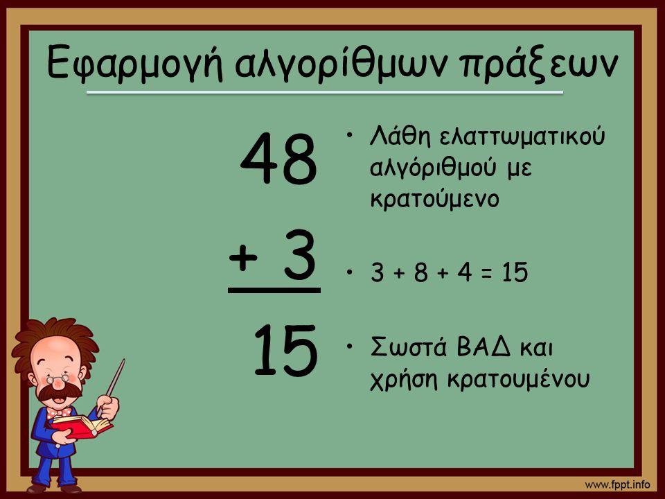 Εφαρμογή αλγορίθμων πράξεων 48 + 3 15 Λάθη ελαττωματικού αλγόριθμού με κρατούμενο 3 + 8 + 4 = 15 Σωστά ΒΑΔ και χρήση κρατουμένου