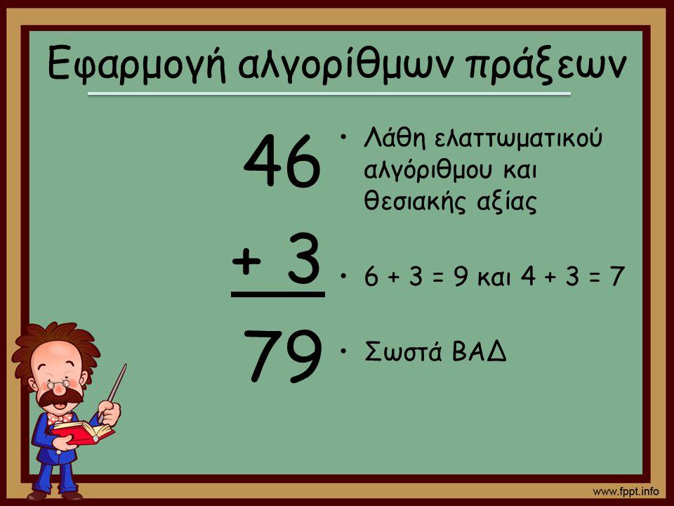 Εφαρμογή αλγορίθμων πράξεων 46 + 3 79 Λάθη ελαττωματικού αλγόριθμου και θεσιακής αξίας 6 + 3 = 9 και 4 + 3 = 7 Σωστά ΒΑΔ
