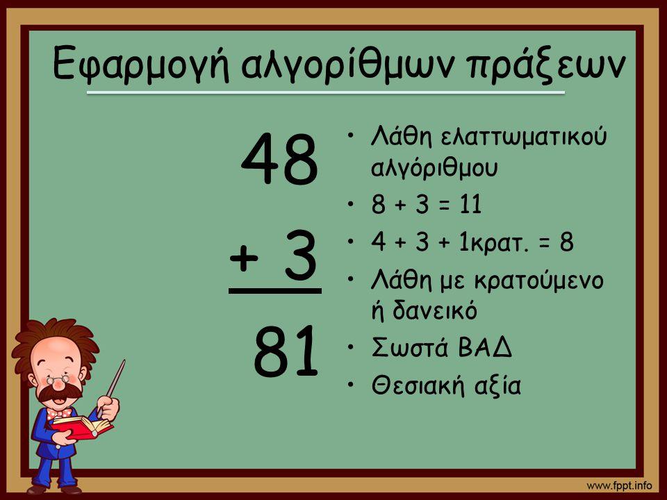 48 + 3 81 Λάθη ελαττωματικού αλγόριθμου 8 + 3 = 11 4 + 3 + 1κρατ. = 8 Λάθη με κρατούμενο ή δανεικό Σωστά ΒΑΔ Θεσιακή αξία Εφαρμογή αλγορίθμων πράξεων