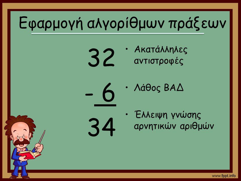 32 - 6 34 Ακατάλληλες αντιστροφές Λάθος ΒΑΔ Έλλειψη γνώσης αρνητικών αριθμών Εφαρμογή αλγορίθμων πράξεων