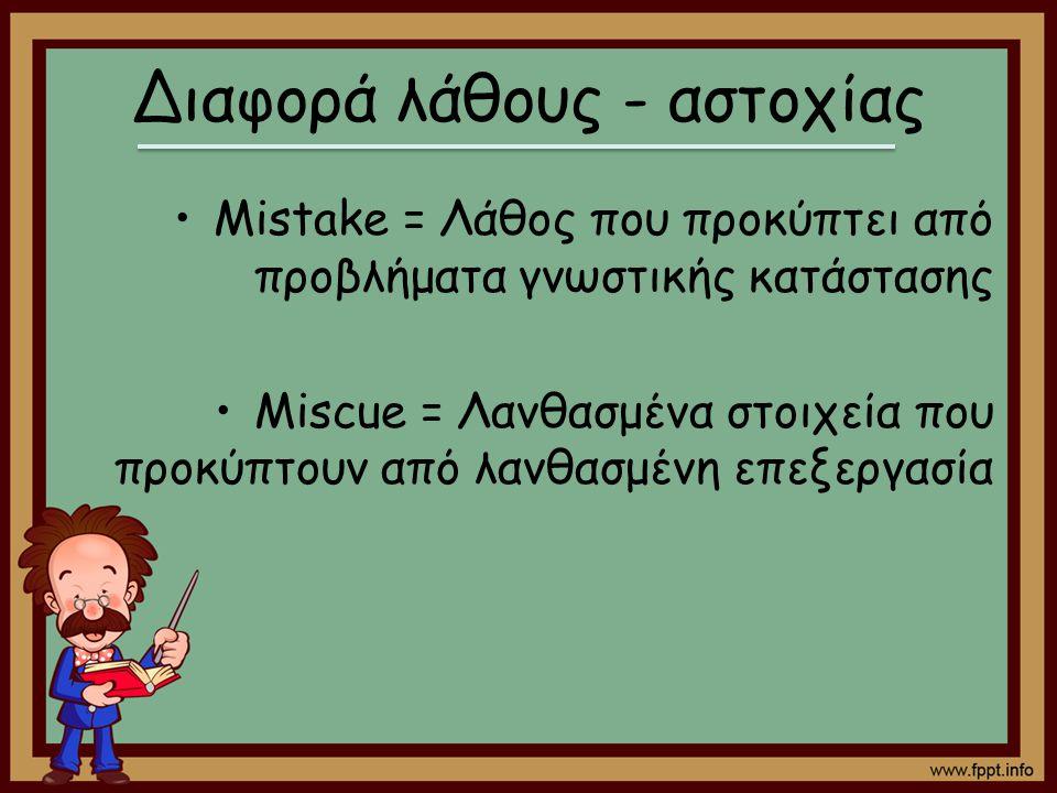 Διαφορά λάθους - αστοχίας Mistake = Λάθος που προκύπτει από προβλήματα γνωστικής κατάστασης Miscue = Λανθασμένα στοιχεία που προκύπτουν από λανθασμένη