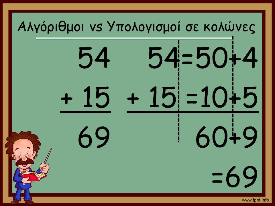 54 + 15 69 54=50+4 + 15 =10+5 60+9 =69 Αλγόριθμοι vs Υπολογισμοί σε κολώνες