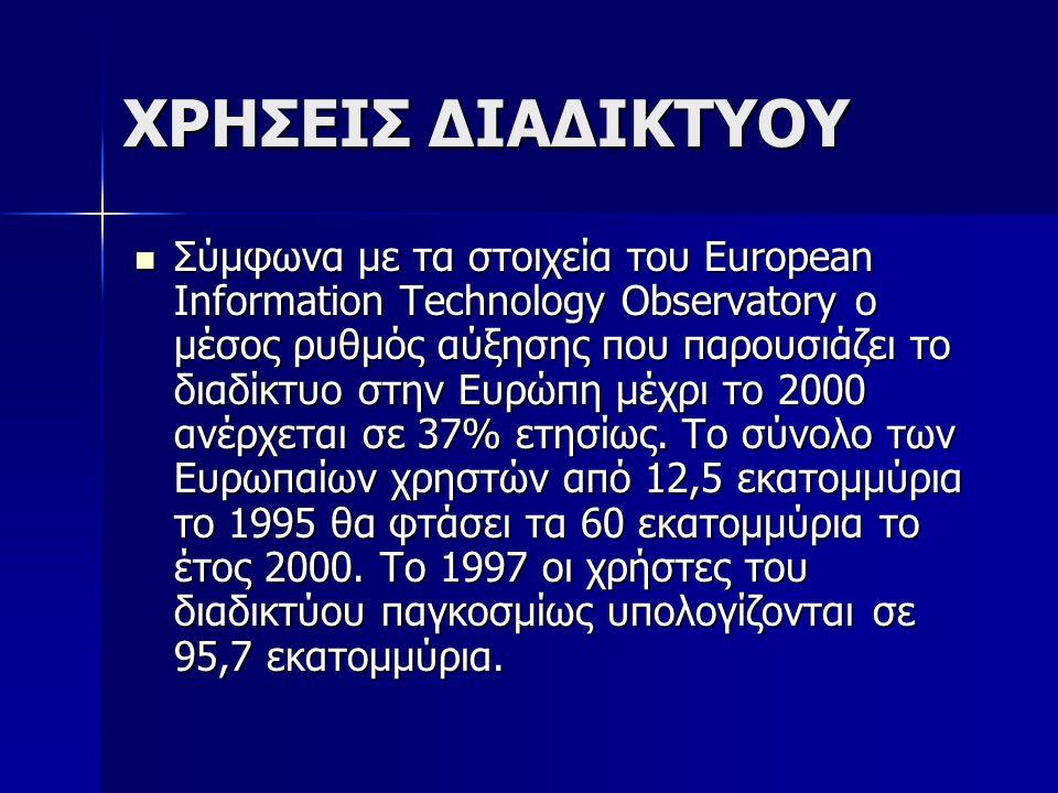 ΧΡΗΣΕΙΣ ΔΙΑΔΙΚΤΥΟΥ Σύμφωνα με τα στοιχεία του European Information Technology Observatory ο μέσος ρυθμός αύξησης που παρουσιάζει το διαδίκτυο στην Ευρ