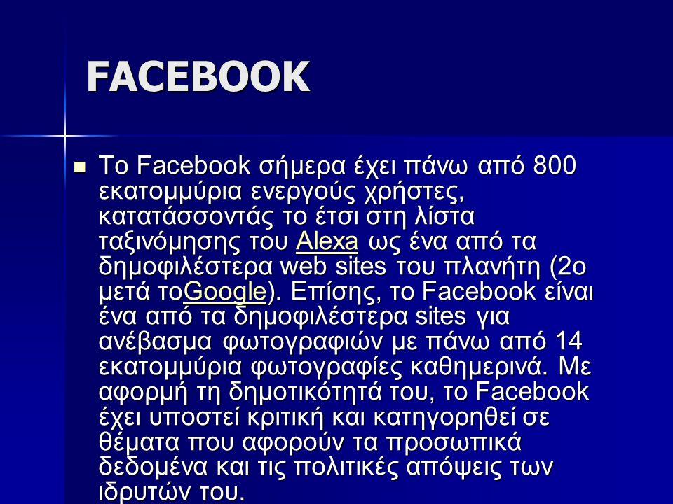 FACEBOOK Το Facebook σήμερα έχει πάνω από 800 εκατομμύρια ενεργούς χρήστες, κατατάσσοντάς το έτσι στη λίστα ταξινόμησης του Alexa ως ένα από τα δημοφι