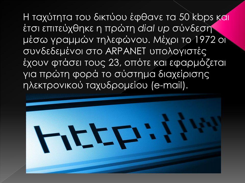 Η ταχύτητα του δικτύου έφθανε τα 50 kbps και έτσι επιτεύχθηκε η πρώτη dial up σύνδεση μέσω γραμμών τηλεφώνου. Μέχρι το 1972 οι συνδεδεμένοι στο ARPANE