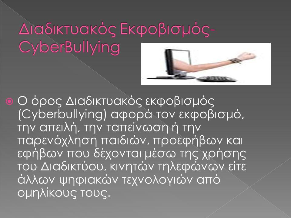  1 Η διαφορά της Διαδικτυακής παρακολούθησης και παρενόχλησης από τον Διαδικτυακό εκφοβισμό  2 Αίτια  3 Μορφές Διαδικτυακού εκφοβισμού  4 Η συχνότητα των απειλών  5 Αντιμετώπιση του Διαδικτυακού εκφοβισμού  6 Στατιστικά στοιχεία  7 Είδη παρατηρητών στον Διαδικτυακό εκφοβισμό  8 Συνέπειες  9 Πηγές