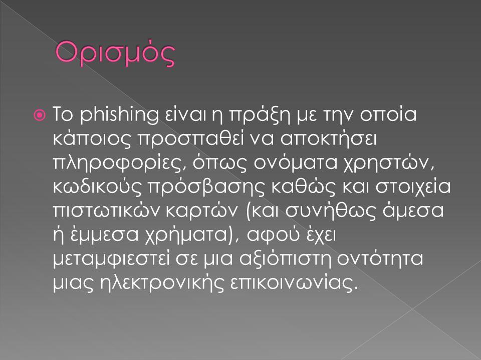  Το phishing είναι η πράξη με την οποία κάποιος προσπαθεί να αποκτήσει πληροφορίες, όπως ονόματα χρηστών, κωδικούς πρόσβασης καθώς και στοιχεία πιστω