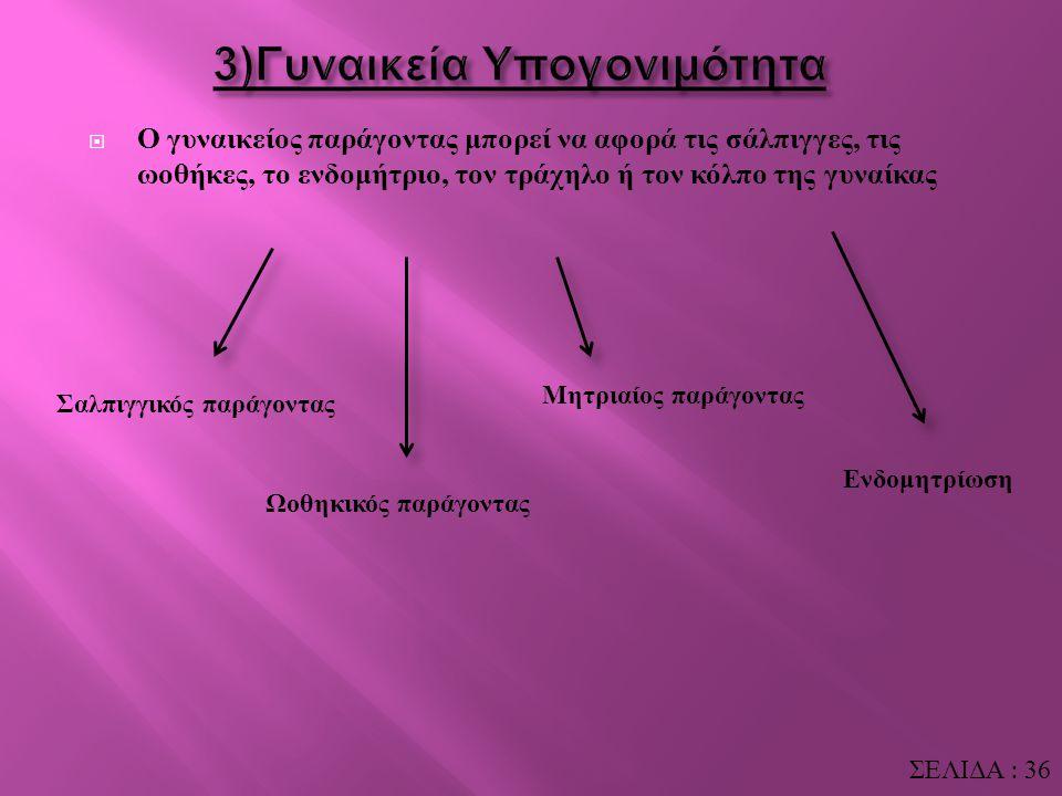  Τέλος, η μορφολογία των σπερματοζωαρίων πρέπει να είναι, σε όσο το δυνατόν μεγαλύτερο ποσοστό αυτών, φυσιολογική. Εκτός των παραπάνω χαρακτηριστικών