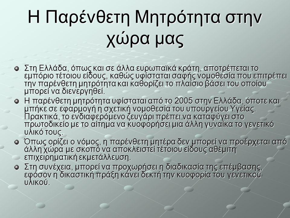 Η Παρένθετη Μητρότητα στην χώρα μας Στη Ελλάδα, όπως και σε άλλα ευρωπαϊκά κράτη, αποτρέπεται το εμπόριο τέτοιου είδους, καθώς υφίσταται σαφής νομοθεσ