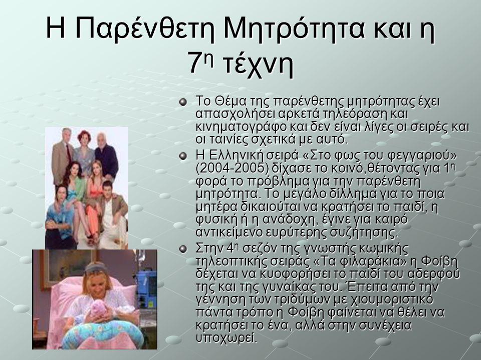 Η Παρένθετη Μητρότητα και η 7 η τέχνη Το Θέμα της παρένθετης μητρότητας έχει απασχολήσει αρκετά τηλεόραση και κινηματογράφο και δεν είναι λίγες οι σει