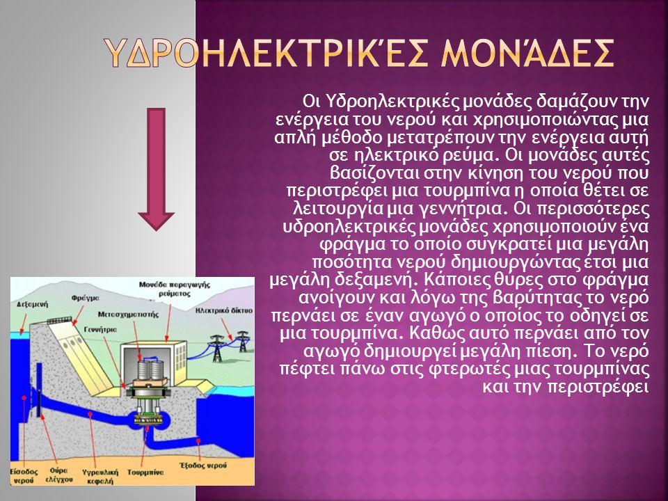 Οι Υδροηλεκτρικές μονάδες δαμάζουν την ενέργεια του νερού και χρησιμοποιώντας μια απλή μέθοδο μετατρέπουν την ενέργεια αυτή σε ηλεκτρικό ρεύμα. Οι μον