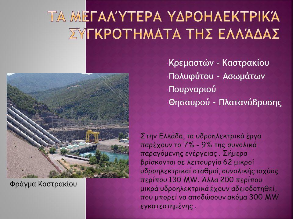 Κρεμαστών - Καστρακίου Πολυφύτου - Ασωμάτων Πουρναριού Θησαυρού - Πλατανόβρυσης Στην Ελλάδα, τα υδροηλεκτρικά έργα παρέχουν το 7% - 9% της συνολικά πα