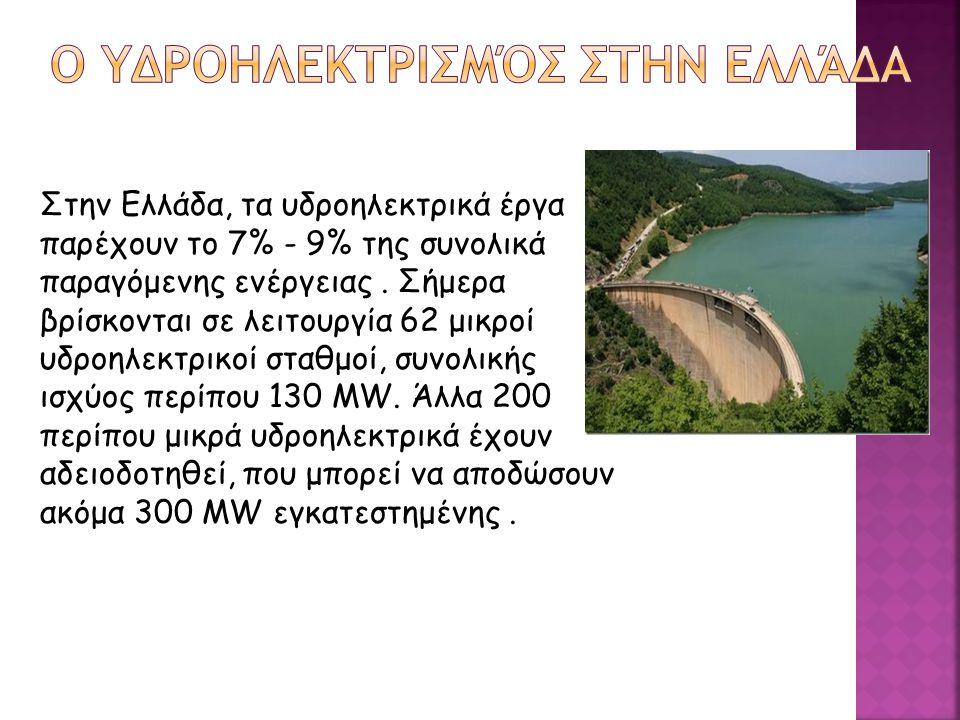 Στην Ελλάδα, τα υδροηλεκτρικά έργα παρέχουν το 7% - 9% της συνολικά παραγόμενης ενέργειας. Σήμερα βρίσκονται σε λειτουργία 62 μικροί υδροηλεκτρικοί στ