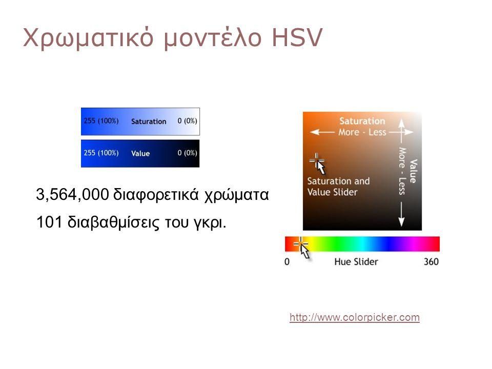 Χρωματικό μοντέλο HSV 3,564,000 διαφορετικά χρώματα 101 διαβαθμίσεις του γκρι. http://www.colorpicker.com