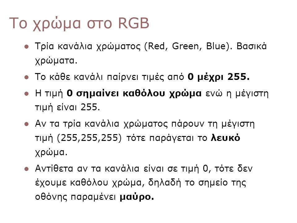 Το χρώμα στο RGB Τρία κανάλια χρώματος (Red, Green, Blue). Βασικά χρώματα. Το κάθε κανάλι παίρνει τιμές από 0 μέχρι 255. Η τιμή 0 σημαίνει καθόλου χρώ