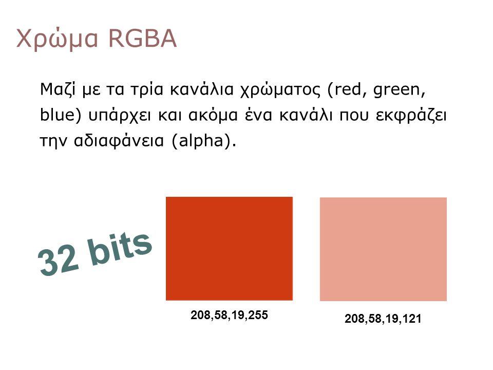 Χρώμα RGBΑ Μαζί με τα τρία κανάλια χρώματος (red, green, blue) υπάρχει και ακόμα ένα κανάλι που εκφράζει την αδιαφάνεια (alpha). 208,58,19,255 208,58,