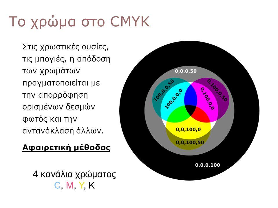 Το χρώμα στο CMYK 0,0,0 Στις χρωστικές ουσίες, τις μπογιές, η απόδοση των χρωμάτων πραγματοποιείται με την απορρόφηση ορισμένων δεσμών φωτός και την α