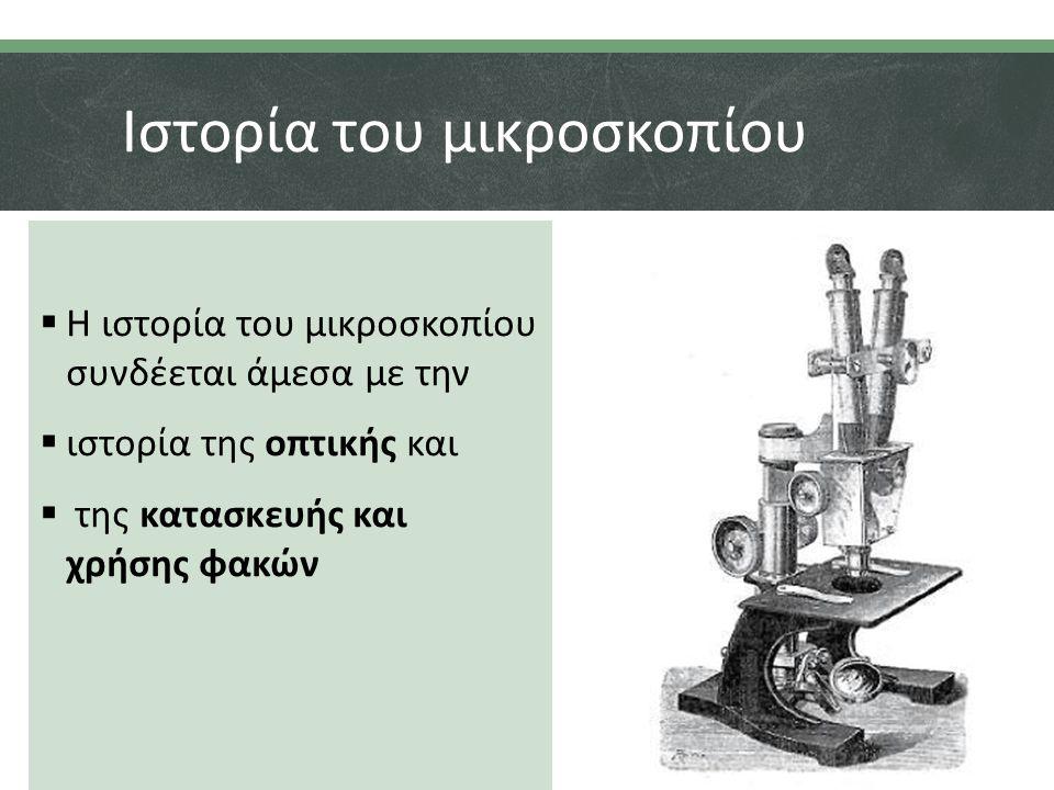 Ιστορία του μικροσκοπίου  Η ιστορία του μικροσκοπίου συνδέεται άμεσα με την  ιστορία της οπτικής και  της κατασκευής και χρήσης φακών