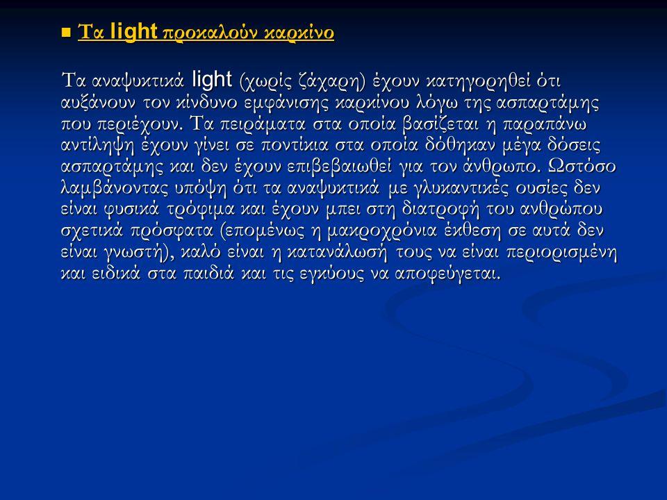 Τ Τα light προκαλούν καρκίνο Τα αναψυκτικά light (χωρίς ζάχαρη) έχουν κατηγορηθεί ότι αυξάνουν τον κίνδυνο εμφάνισης καρκίνου λόγω της ασπαρτάμης που περιέχουν.
