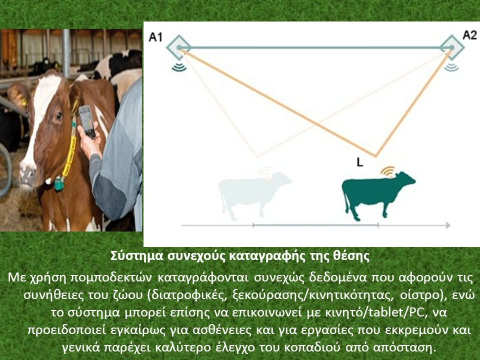 Σύστημα συνεχούς καταγραφής της θέσης Με χρήση πομποδεκτών καταγράφονται συνεχώς δεδομένα που αφορούν τις συνήθειες του ζώου (διατροφικές, ξεκούρασης/