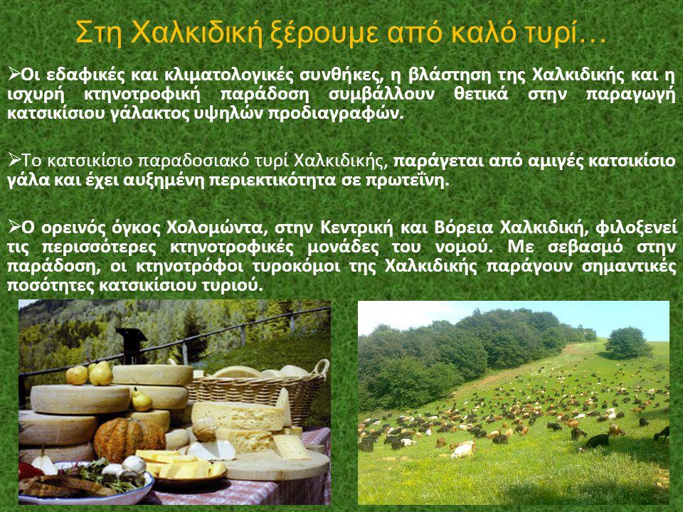 Στη Χαλκιδική ξέρουμε από καλό τυρί…  Οι εδαφικές και κλιματολογικές συνθήκες, η βλάστηση της Χαλκιδικής και η ισχυρή κτηνοτροφική παράδοση συμβάλλου