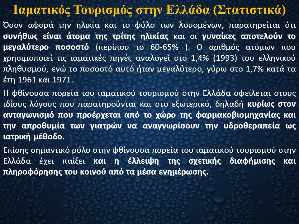 Ιαματικός Τουρισμός στην Ελλάδα (Στατιστικά) Όσον αφορά την ηλικία και το φύλο των λουομένων, παρατηρείται ότι συνήθως είναι άτομα της τρίτης ηλικίας
