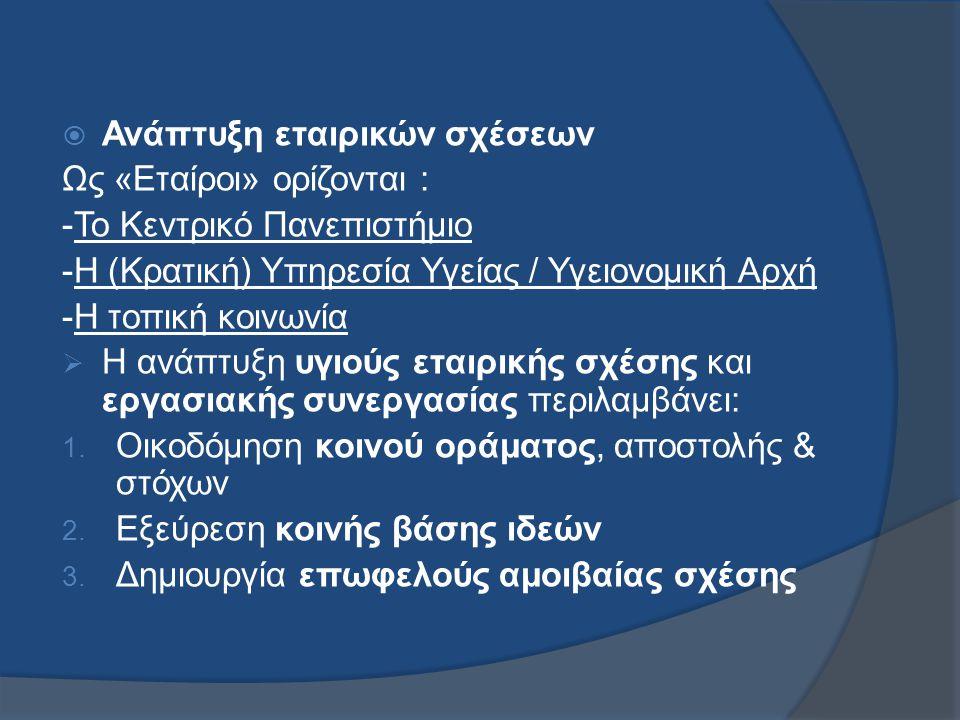  Ανάπτυξη εταιρικών σχέσεων Ως «Εταίροι» ορίζονται : -Το Κεντρικό Πανεπιστήμιο -Η (Κρατική) Υπηρεσία Υγείας / Υγειονομική Αρχή -Η τοπική κοινωνία  Η ανάπτυξη υγιούς εταιρικής σχέσης και εργασιακής συνεργασίας περιλαμβάνει: 1.