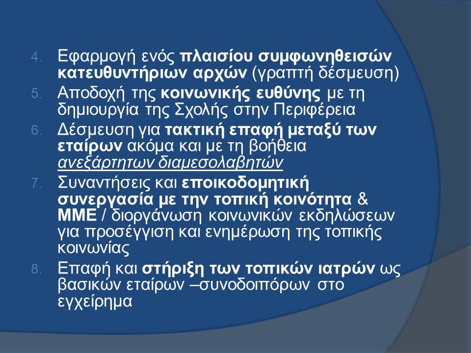 4. Εφαρμογή ενός πλαισίου συμφωνηθεισών κατευθυντήριων αρχών (γραπτή δέσμευση) 5.