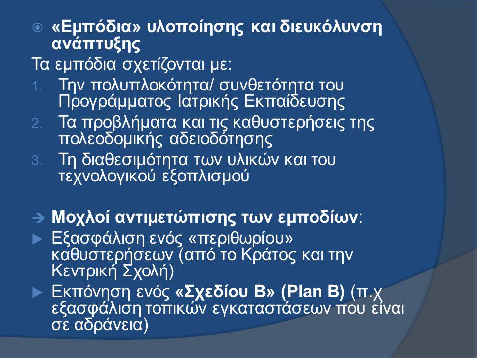  «Εμπόδια» υλοποίησης και διευκόλυνση ανάπτυξης Τα εμπόδια σχετίζονται με: 1.
