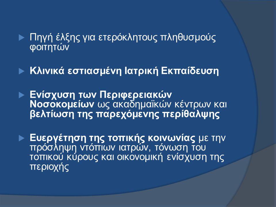  Πρόγραμμα Εκπαίδευσης Καθορίζεται από τις Εθνικές Υπηρεσίες Αδειοδότησης και τις έρευνες για τις ικανότητες των αποφοίτων ιατρών.