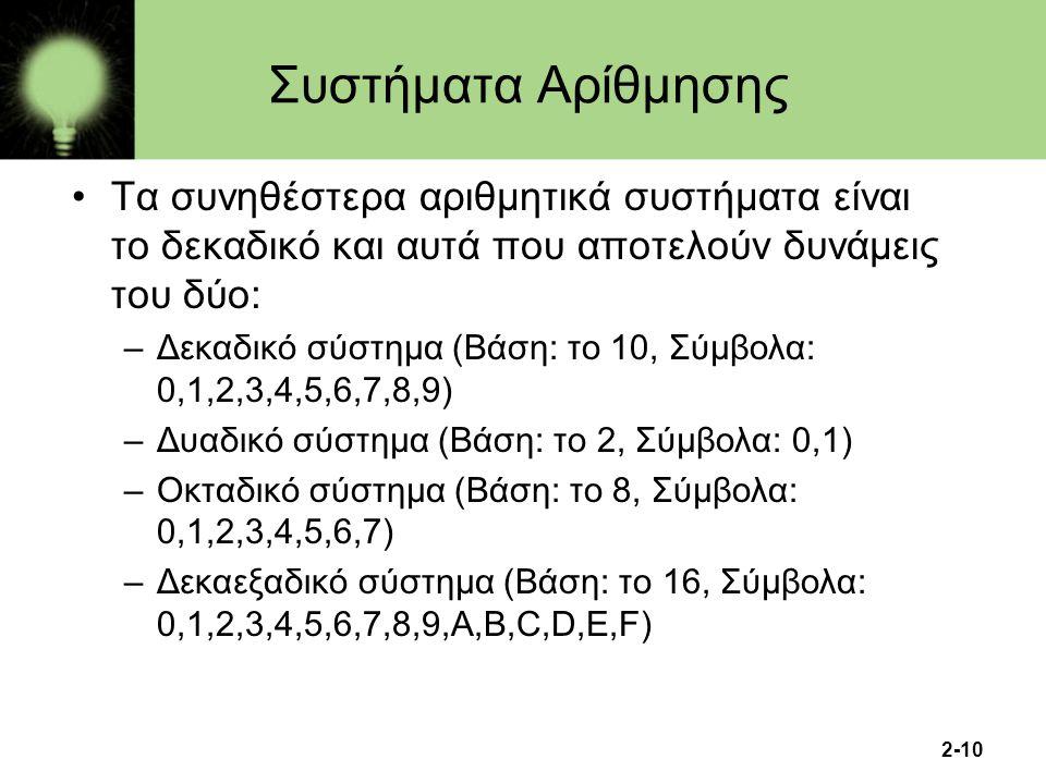 2-10 Συστήματα Αρίθμησης Τα συνηθέστερα αριθμητικά συστήματα είναι το δεκαδικό και αυτά που αποτελούν δυνάμεις του δύο: –Δεκαδικό σύστημα (Βάση: το 10