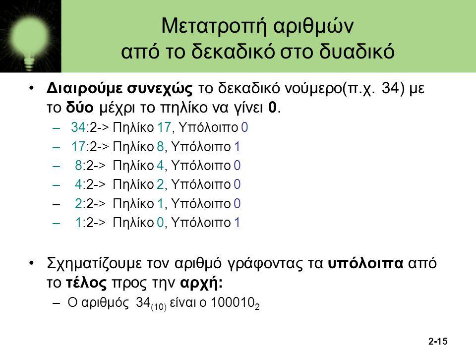 2-15 Μετατροπή αριθμών από το δεκαδικό στο δυαδικό Διαιρούμε συνεχώς το δεκαδικό νούμερο(π.χ. 34) με το δύο μέχρι το πηλίκο να γίνει 0. – 34:2-> Πηλίκ