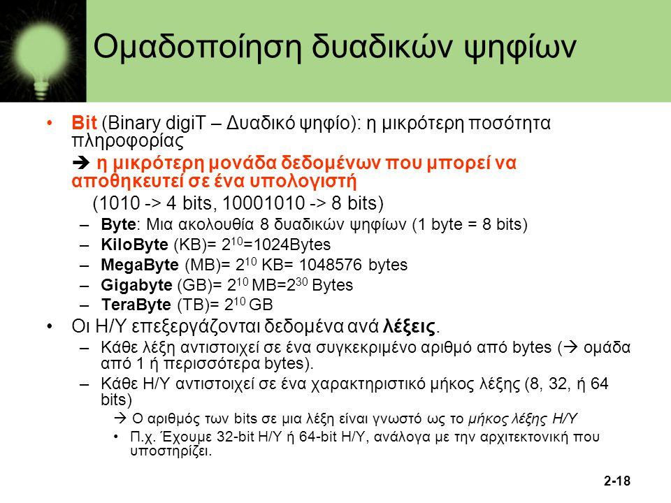 2-18 Ομαδοποίηση δυαδικών ψηφίων Bit (Binary digiT – Δυαδικό ψηφίο): η μικρότερη ποσότητα πληροφορίας  η μικρότερη μονάδα δεδομένων που μπορεί να απο