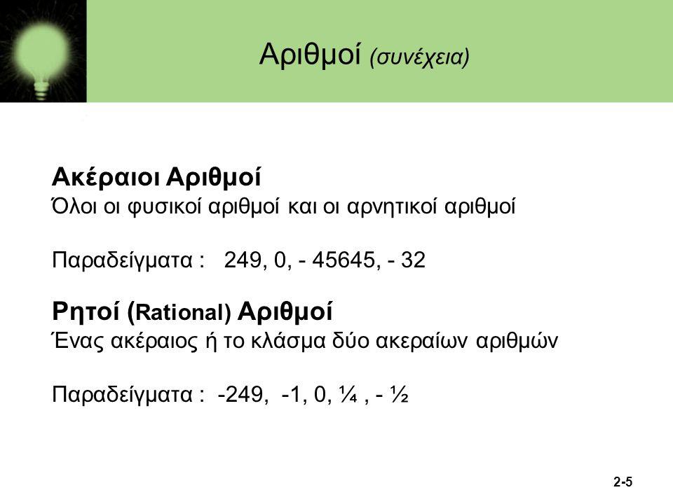 2-5 Ακέραιοι Αριθμοί Όλοι οι φυσικοί αριθμοί και οι αρνητικοί αριθμοί Παραδείγματα : 249, 0, - 45645, - 32 Ρητοί ( Rational) Αριθμοί Ένας ακέραιος ή τ