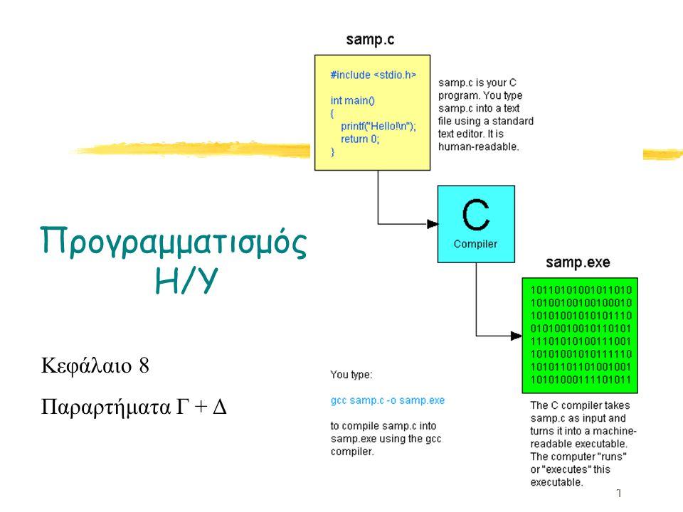 1 Προγραμματισμός Η/Υ Κεφάλαιο 8 Παραρτήματα Γ + Δ