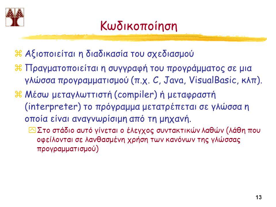 13 Κωδικοποίηση zΑξιοποιείται η διαδικασία του σχεδιασμού zΠραγματοποιείται η συγγραφή του προγράμματος σε μια γλώσσα προγραμματισμού (π.χ.